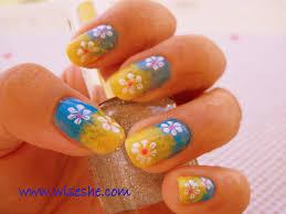 sponge nail art free designs yellow blue simple nail design