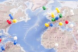 Colored World Map by Image Of Colorful Pins Locating Destinations On World Map