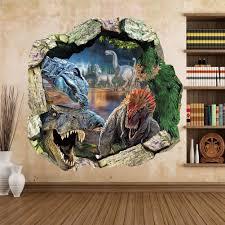 zooarts dinosaur cracked wall removable vinyl mural art wall