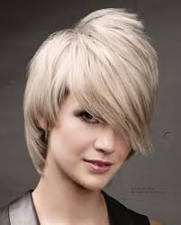 short hairstyle with long angled bangs and metallic hair color