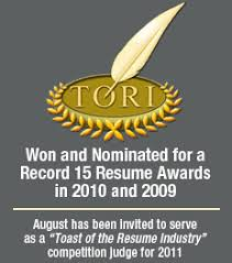 TORI Career Directors International      Best Cover Letter  st Place Award Get Hired Stay Hired