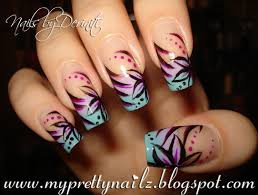 my pretty nailz ombre tips with hand painted flower design nail