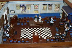 miniature masonic lodge room diorama