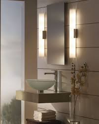 bathroom silver framed wall mirror with upper lighting for
