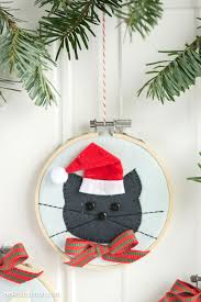 christmas decorations to make at home cat embroidery hoop christmas ornaments the polka dot chair