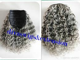Grey Human Hair Extensions by 100 Real Hair Gray Puff Afro Ponytail Hair Extension Clip In Remy