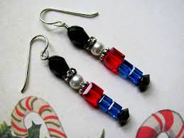 toy soldier earrings holiday earrings swarovski crystals