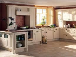 u shape kitchen design and decoration using dark brown red brick
