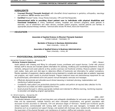 Physical Therapy Resume Sample by Massage Therapy Resume Corpedo Com