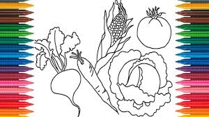 vegetables coloring book fun painting learning colors how to paint