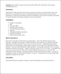 Inventory Specialist Resume Sample by Professional International Trade Specialist Templates To Showcase