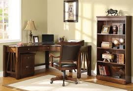 old and traditional l shaped oak wood home office corner desk