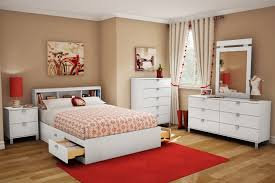 white wooden queen storage bed with bookcase headboard and drawers