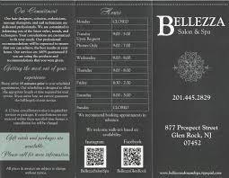 service menu bellezza salon and spa