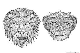 africa heads monkey lion coloring pages printable