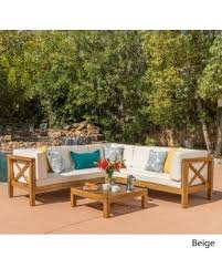 Outdoor Furniture Finish by Savings On Brava Outdoor 4 Piece Wood Sectional Set W Cushions By