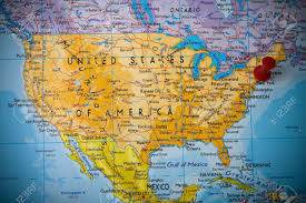 States Of United States Map by Small Pin Pointing On New York In Map Of United States Of America