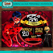 Invitation Card Store Miraculous Personalized Digital Invitation Miraculous Ladybug