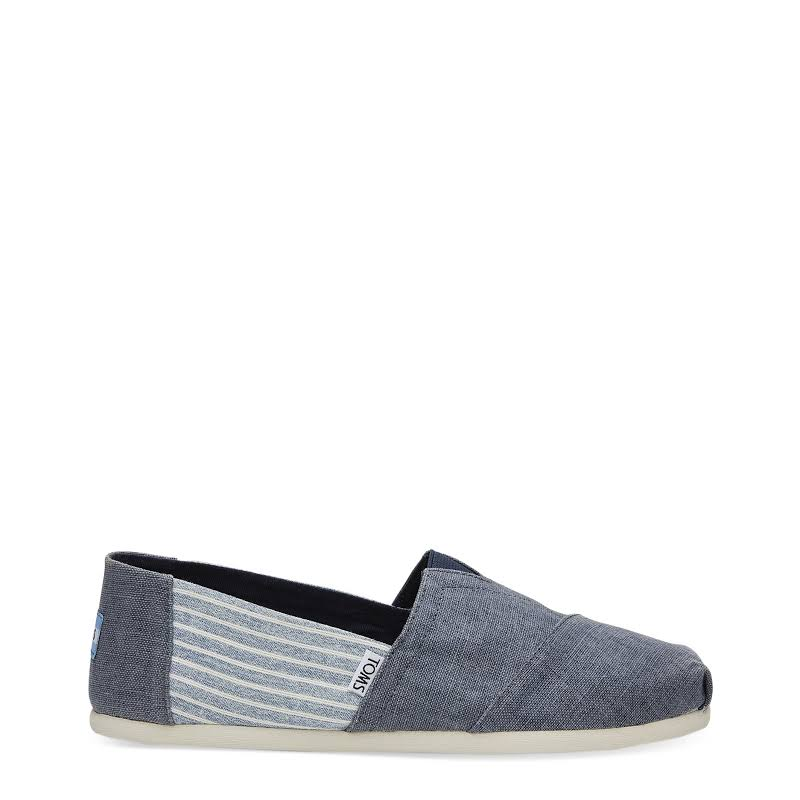 Toms Classic Coated Linen Deep Ocean Stripe Canvas Slip-On Shoes