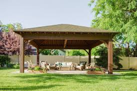 Outdoor Patio With Roof by 22 U0027x24 U0027 Hip Roof Pavilion W Integrated Self Contained Power