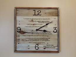 large 20 wood clock wedding vows reclaimed wood clock