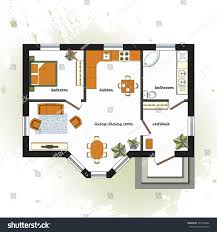 One Room Apartment Floor Plans Architectural Color Floor Plan Furniture Top Stock Vector