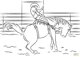 saddle bronc rodeo coloring page free printable coloring pages