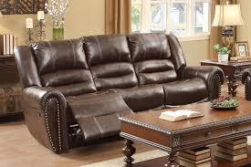 homelegance center hill double reclining sofa dark brown bonded