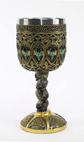 bronze royal dragon wine goblet skulls medieval collectible home