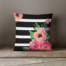 Floral Couches Black U0026 White Stripes Floral Throw Pillow Floral Throws Black