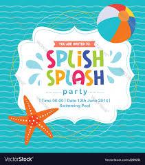 Card Invitation Birthday Card Invitation Summer Fun Splash Beach Vector Image