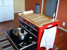 tool box repurposed for kitchen center island wooden table top is