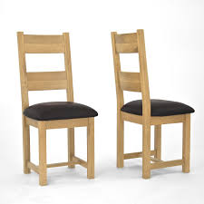 oak wood mission style dining room chairs with black leather pad