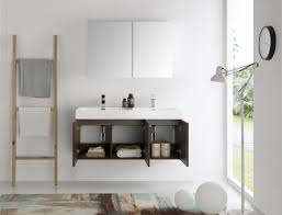 Modern Walnut Bathroom Vanity by Fresca Mezzo 48 Inch Walnut Wall Mounted Double Sink Modern