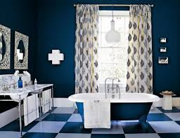 navy blue bathroom ideas bold white countertop and double faucets