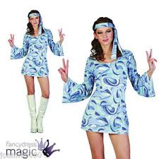 Flower Power Halloween Costume Retro Ladies Womens 60s 70s Hippie Hippy Flower Power Fancy Dress
