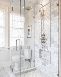 love the this shower and the gray and white tile chevron marble master bath start your day with something beautiful we re feeling inspired by this beautiful bathroom from get the look with our reflection diamond tile