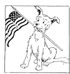 FAA Printables...Dog With Flag...Coloring Page friendsacrossamerica.com