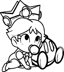 baby daisy peach daisy and rosalina as babies coloring page