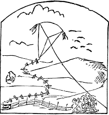 kite black and white coloring pages clip art wikiclipart