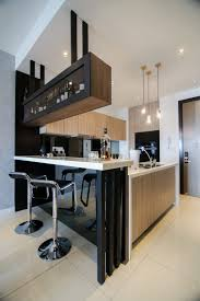 Home Modern Modern Kitchen Design With Integrated Bar Counter For A Small
