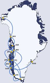 Latam Map Map Of Air Greenland Domestic Flight Destinations Greenland
