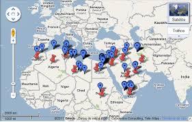 Mapa delas revueltas árabes