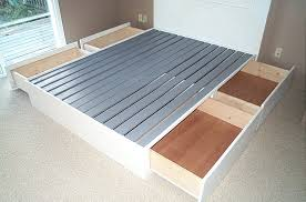 Diy Platform Bed Frame Designs by Building Platform Bed Frame With Drawers Bedroom Ideas