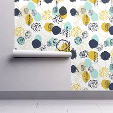 abstract expression mustard mint navy khaki wallpaper by