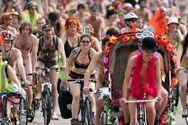 Yup, the naked bike ride was exactly what it sounds like.