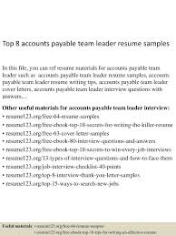 team leader sample resume accounts payable resume sample template virtren com best accounts payable specialist resume example livecareerl