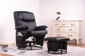 Leather Rocker Recliner Swivel Chair Amazon Com Merax Black Pu Leather Nursing Glider Rocker Recliner