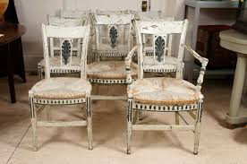 French Dining Room Set 8 French Provincial Green Painted Dining Room Chairs At 1stdibs