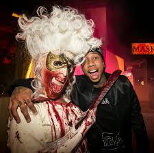 costumes halloween horror nights chris brown u0026 karrueche kylie jenner u0026 tyga at the universal